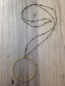 Hand Crafted Jewelry-Brass Circle Necklace on Brass Beaded Chain