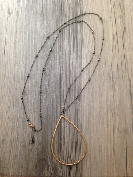 Handcrafted Jewelry-Brass Teardrop Necklace on Brass Beaded Chain