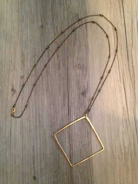 Handcrafted Jewelry-Brass Square Necklace on Brass Beaded Chain