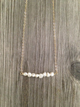Load image into Gallery viewer, Handcrafted Jewelry-Pearl Bar Necklace on Gold-filled or Sterling-Silver Chain