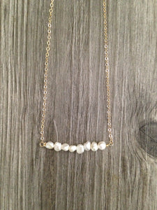 Handcrafted Jewelry-Pearl Bar Necklace on Gold-filled or Sterling-Silver Chain