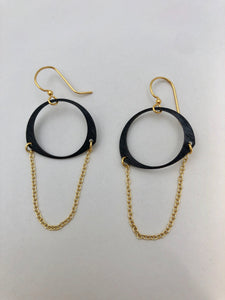 Oxidized Brass Circle Earring