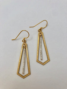 Brass Hoop/Silver Beaded Bar Earrings