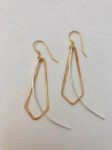 Brass Shape-Silver Curve Earrings