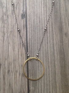 Hand Crafted Jewelry-Medium Brass Circle Necklace on Silver Beaded Chain