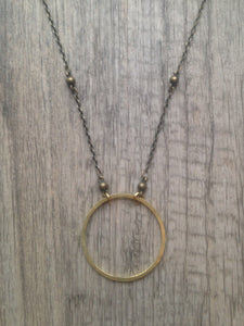 Handcrafted Jewelry-Medium Brass Circle Necklace on Brass Beaded Chain
