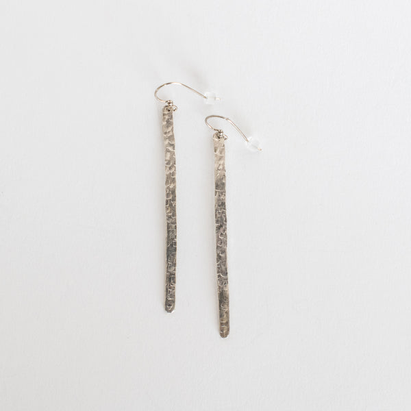 Handcrafted Jewelry-Hammered Silver Bar Earrings