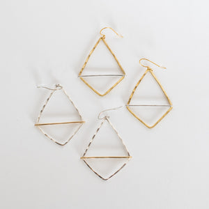 Handcrafted Jewelry-Geometric Hoop Earring with mixed metal bar