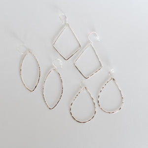 Handcrafted Jewelry-Silver Hoop Earrings