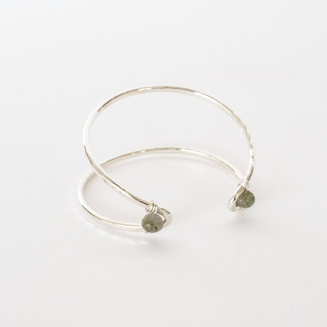 Handcrafted Jewelry-Silver Marquise Cuff Bracelet with Labradorite Accent