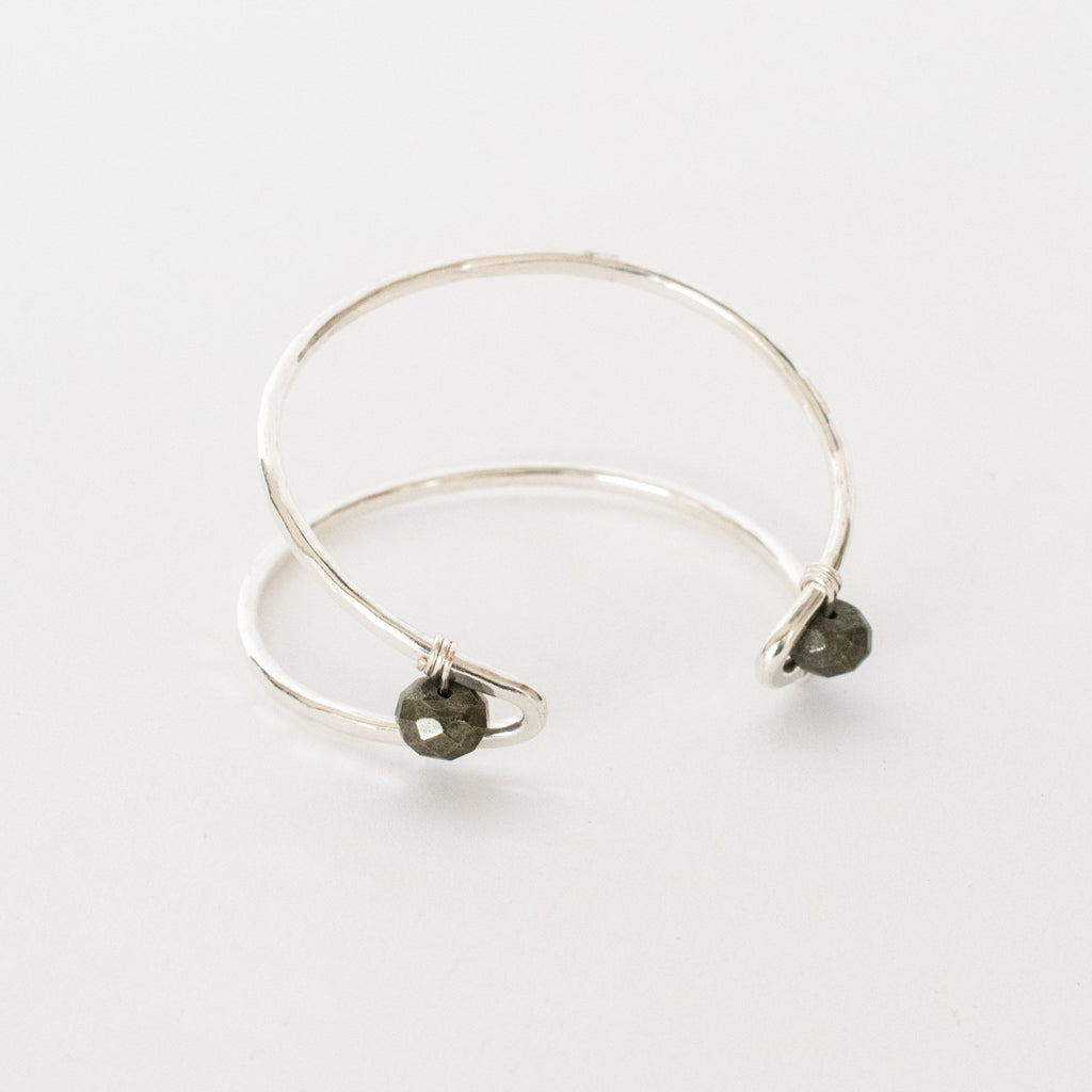 Handcrafted Jewelry-Silver Marquise Cuff Bracelet with Pyrite Accent