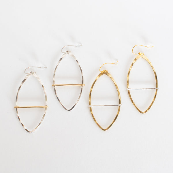 Handcrafted Jewelry-Marquise Hoop Earring with mixed metal bar