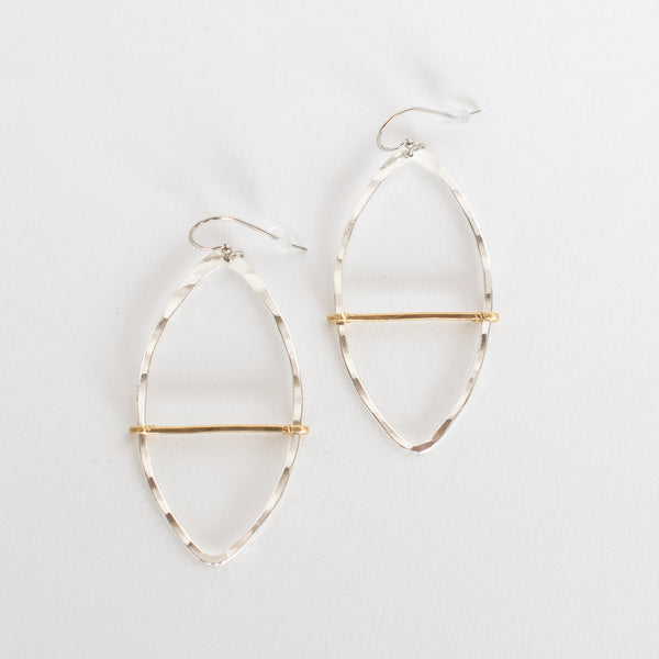 Handcrafted Jewelry-Silver Marquise Hoop Earring with Brass Bar