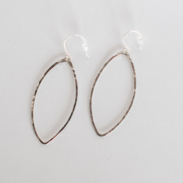 Handcrafted Jewelry-Silver Marquise Hoop Earring