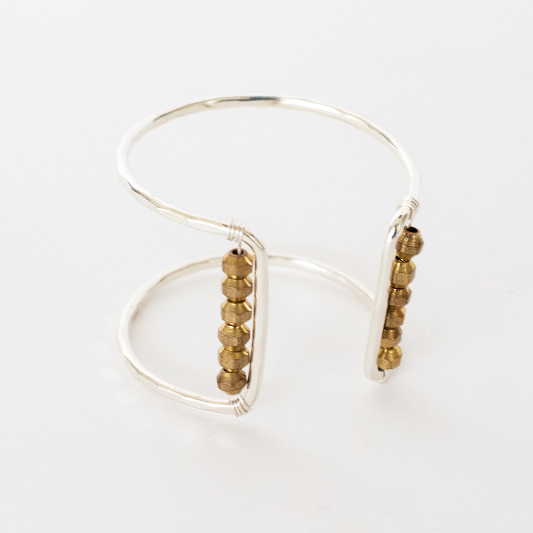 Handcrafted Jewelry-Silver Square Cuff Bracelet with Brass Metal Bead Accent