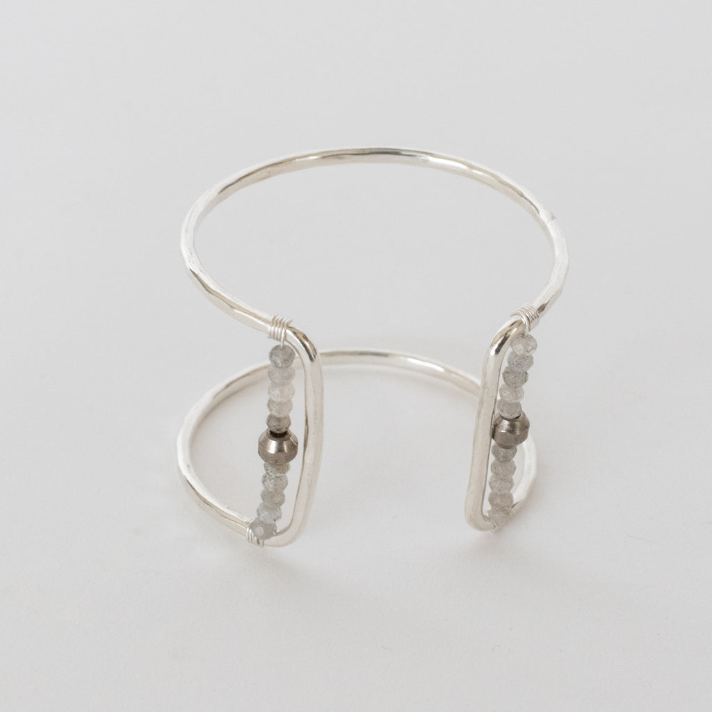 Handcrafted Jewelry-Silver Square Cuff Bracelet with Labradorite/Silver Metal Bead Accent