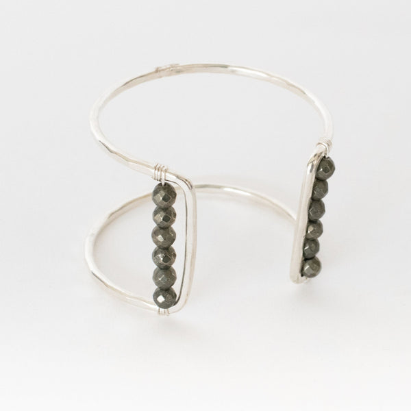Handcrafted Jewelry-Silver Square Cuff Bracelet with Pyrite Accent