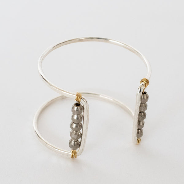 Handcrafted Jewelry-Silver Square Cuff Bracelet with Silver Bead Accent