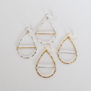 Handcrafted Jewelry-Teardrop Hoop Earrings with Mixed Metal Bar