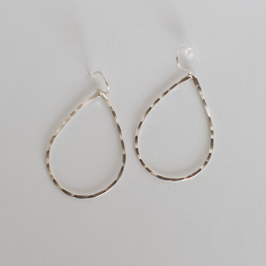 Handcrafted Jewelry-Silver Teardrop Earrings