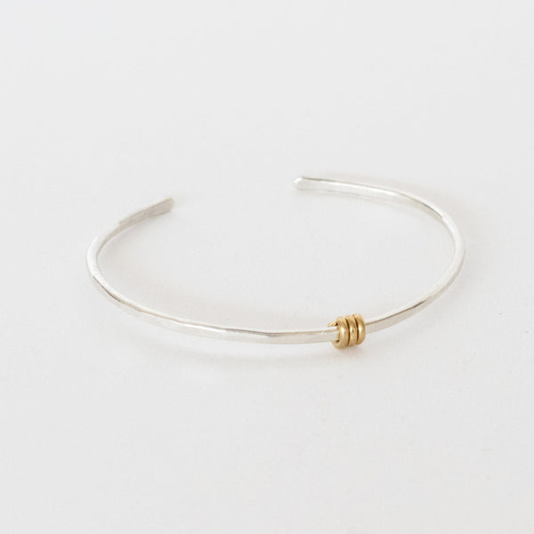Handcrafted Jewelry-Sterling Silver Bracelet with Brass Triple Wrap