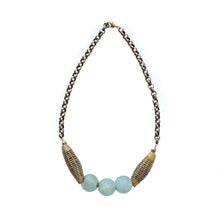 Load image into Gallery viewer, Tribal Blue Sea Glass Necklace