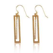Load image into Gallery viewer, Brass Rectangle Earring-Silver Beaded Bar