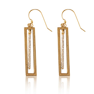 Brass Rectangle Earring-Silver Beaded Bar