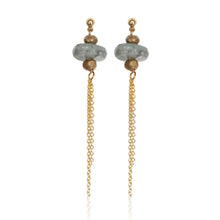 Load image into Gallery viewer, Kyanite/Gold Tassel Post Earrings