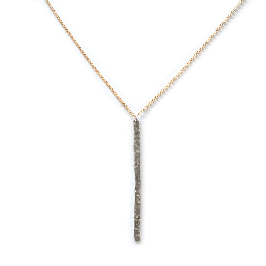 Hammered Gold/Silver Bar Necklace on dainty Chain