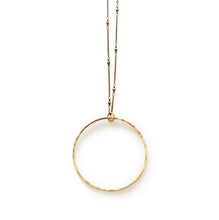 Load image into Gallery viewer, Long Circle Necklace on Beaded Chain