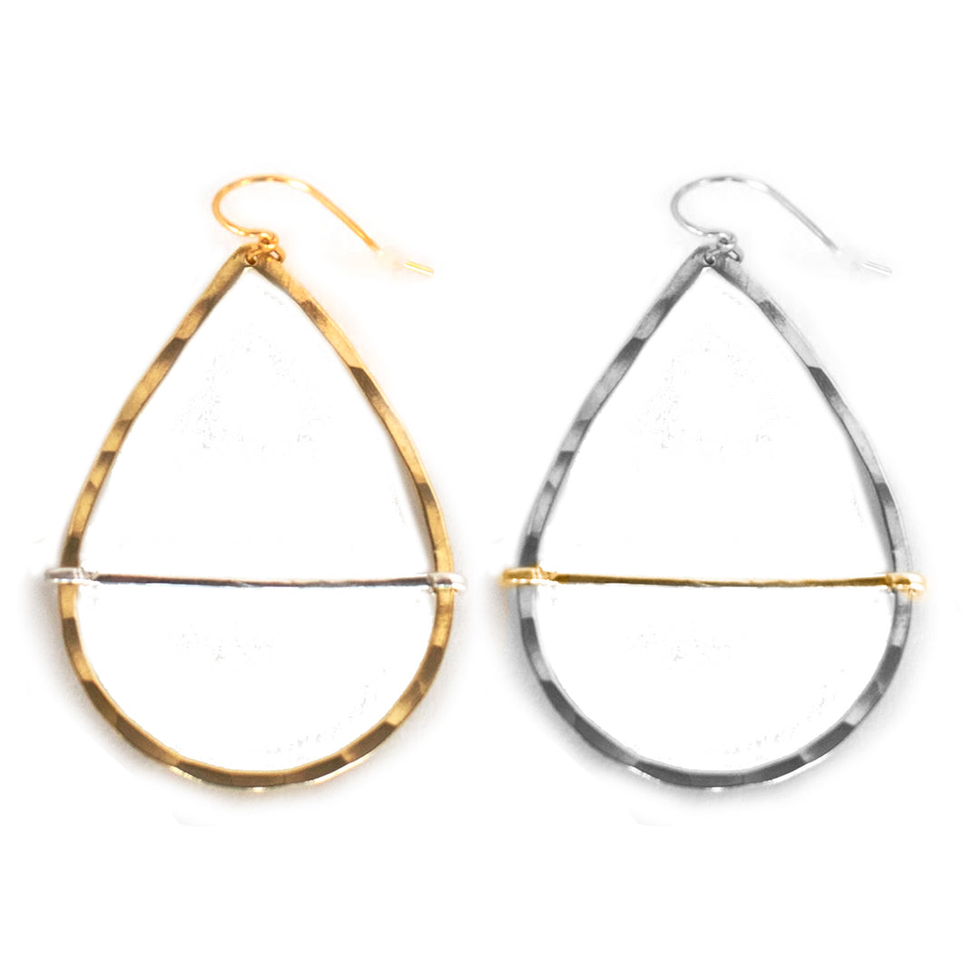 Teardrop Hoop Bar Earrings