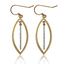 Load image into Gallery viewer, Brass Hoop/Silver Beaded Bar Earrings