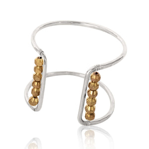 Square Cuff Bracelet-Brass Metal Bead