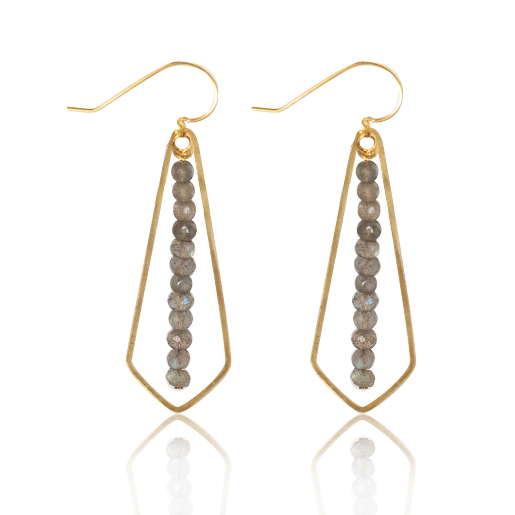 Brass Diamond Labradorite Bar Earring
