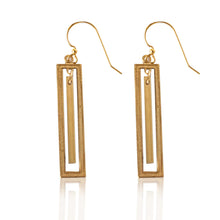 Load image into Gallery viewer, Brass Rectangle Earrings with Bar Accent