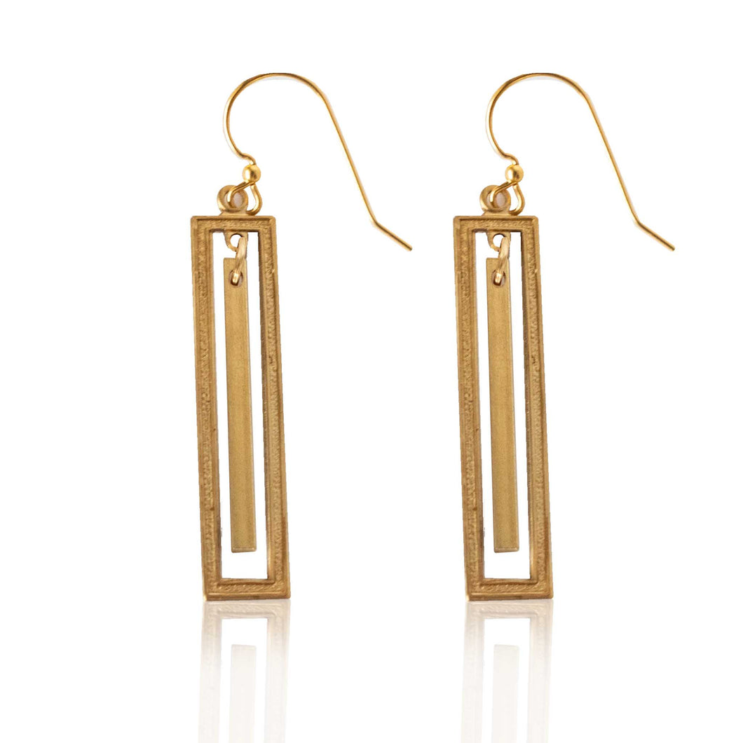 Brass Rectangle Earrings with Bar Accent