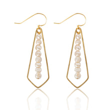 Load image into Gallery viewer, Brass Diamond Pearl Bar Earrings