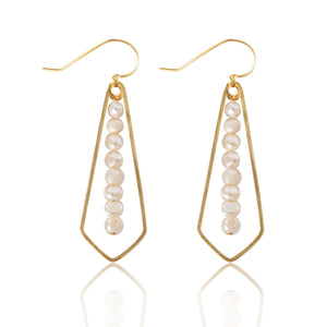 Brass Diamond Pearl Bar Earrings
