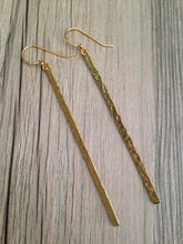 Load image into Gallery viewer, Handcrafted Jewelry-Hammered Brass Bar Earrings