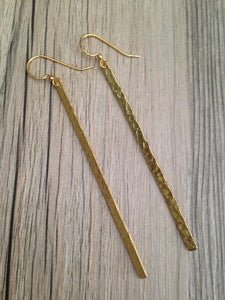 Handcrafted Jewelry-Hammered Brass Bar Earrings