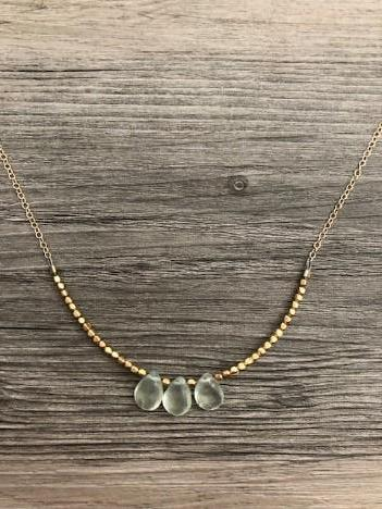 Handcrafted Jewelry-Triple Prehnite Necklace on Gold-Filled Chain