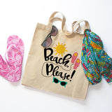 Beach Please Canvas Tote Bag