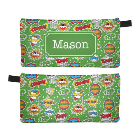 Superhero Comic Green - Zipper Pouch, Pencil Case, Makeup Bag