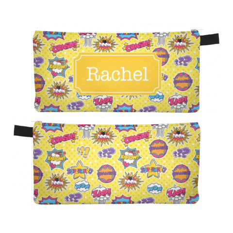Supergirl Comic Yellow - Zipper Pouch, Pencil Case, Makeup Bag