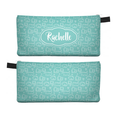 Teal Cute Cat - Zipper Pouch, Pencil Case, Makeup Bag