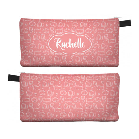 Coral Cute Cat - Zipper Pouch, Pencil Case, Makeup Bag