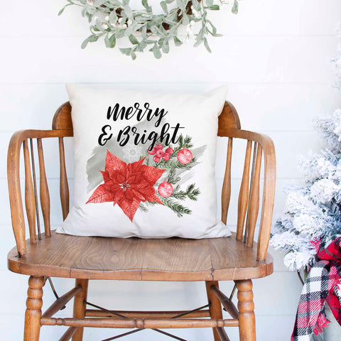 Merry And Bright White Canvas Christmas Pillow Cover