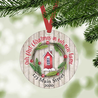 Our first christmas in our new home personalized Christmas ornament