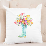 Flowers in a Rainboot Spring Pillow Cover